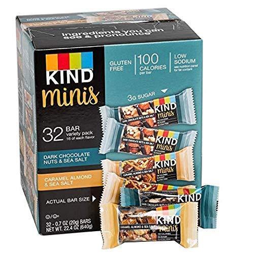 Kind Bars Dark Chocolate Nuts & Sea Salt mini bars and Caramel Almond & Sea Salt mini bars 34 ct