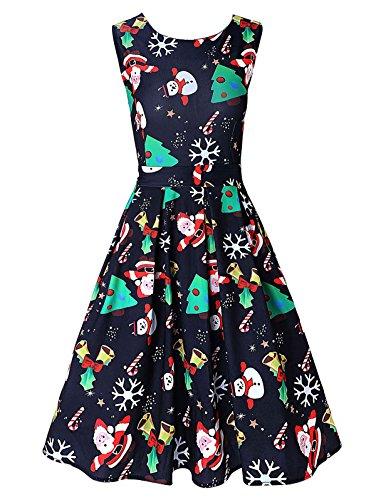 (DREAGAL Women's Print Flared Swing Dress Green Tree Dress)
