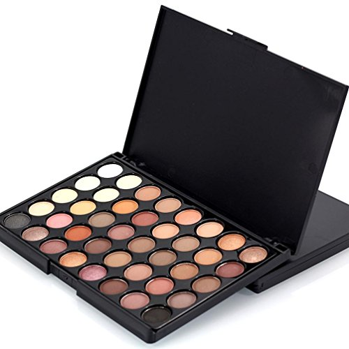 LandFox Cosmetic Matte Eyeshadow Cream Makeup Palette Shimmer Set 40 Color+ Brush Set (A)
