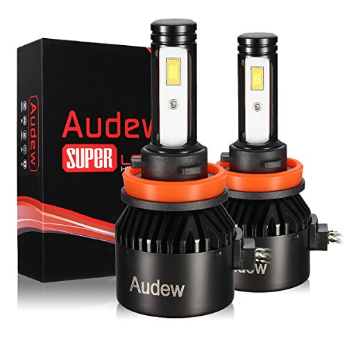 Audew H11 Led Headlight Bulb 2Pcs 72W 8000Lumens 6000K Cool White With Cob Chips Super Bright All In One Headlight Conversion Kit  2 Year Warranty