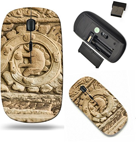 Liili Wireless Mouse Travel 2.4G Wireless Mice with USB Receiver, Click with 1000 DPI for notebook, pc, laptop, computer, mac book Stegosaurus bas relief on the wall of Ta Prohm temple at Angkor Wat c