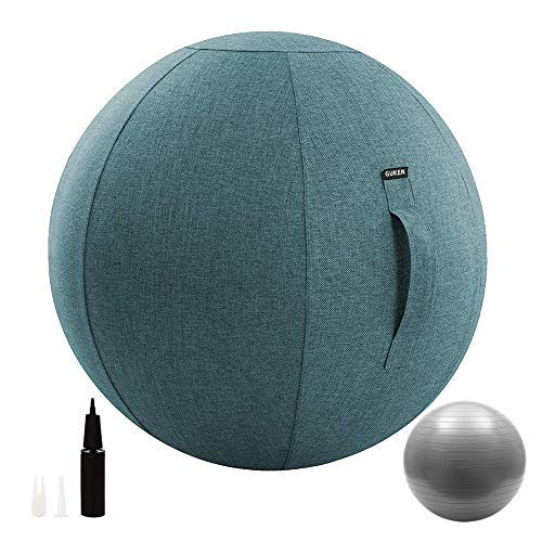 Guken Sitting Ball Chair with Cover, Exercise Yoga Ball for Office and Home Muscle Training Fitness, Stability Ball with Pump and Handle (Blue, 55cm) by Guken