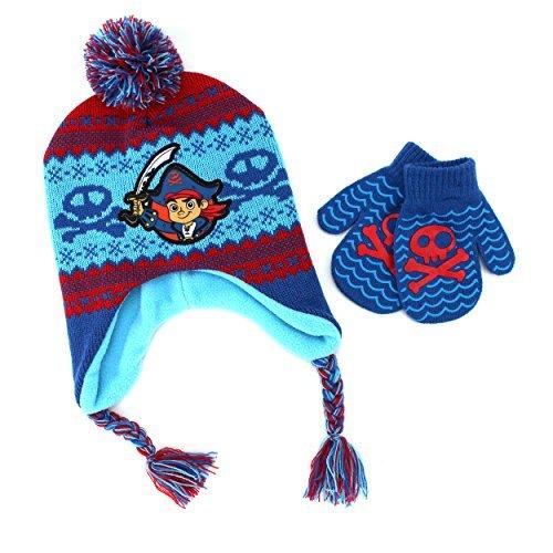 Disney Nickelodeon Toddler Boys Hat and Mittens Set (Blue Captain Jake Pirate)