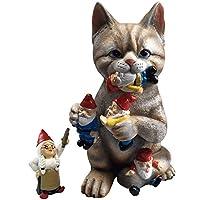 Por Mark & Margot - Estatuilla maliciosa de la estatua del gnomo del jardín del gato - La mejor decoración de arte para el hogar u oficina al aire libre en interiores