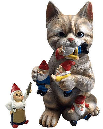by Mark & Margot - Mischievous Cat Garden Gnome Statue Figurine - Best Art Décor for Indoor Outdoor Home Or Office (One Size, Mischievous -