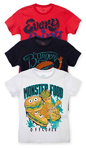 OFFCORSS Big Boy Teen Kid Multi Colored Printed Plain Solid Color Short Sleeve T- Shirt Casual Tee Neon Prime Pocket Camisetas de Niño Grande 3PACK - Colored Outfits Neon