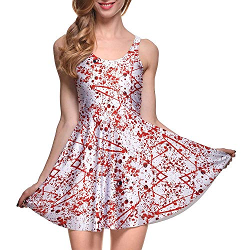 Women Halloween Fashion Horror Blood Splatter Print Skater Dress]()