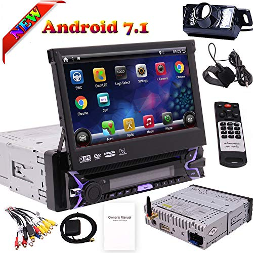 Single 1 Din Android 7.1 Quad Core Car Radio Stereo 7 inch Capacitive Touch Screen High Definition 1024x600 GPS Navigation in Dash Bluetooth USB SD DVD CD Player with Camera External MIC