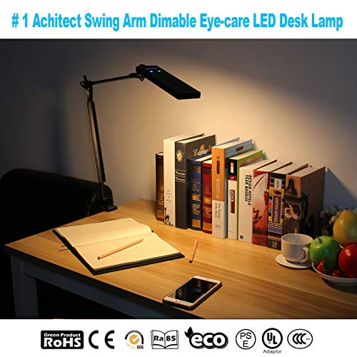 BYB E476 Metal Architect LED Desk Lamp, Swing Arm Task Lamp with Clamp, Eye-Care Drafting Table Lamp, Dimmable Office Light, 4 Color Modes, 6 Brightness Levels, Touch Control, Memory Function, Black