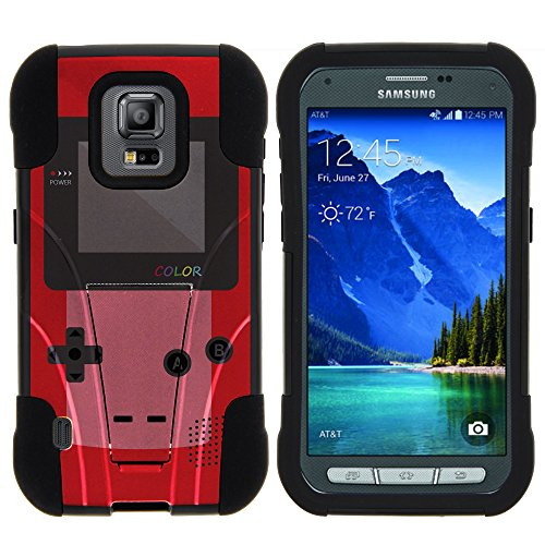 Samsung Galaxy S5 Active Stand Case, S5 Active Dual Shell, G870 Case [STRIKE IMPACT] Bumper Case Dual Fusion Action Silicone Hard Kickstand Shell by Miniturtle - Red Gameboy