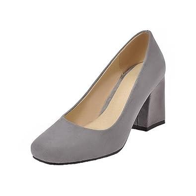 AgooLar Damen Kitten-Heels Rein Ziehen auf PU Rund Zehe Pumps Schuhe
