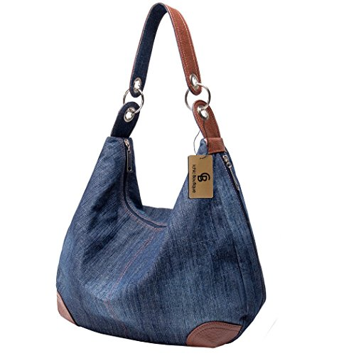 Womens Handbag Purse Denim Tote Hobo Shoulder Crossbody Bags,Dark Blue Jean Handbag Purse