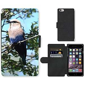 "PU LEATHER case coque housse smartphone Flip bag Cover protection // M00115003 Azul Hinchada Roller Pájaro rama de // Apple iPhone 6 4.7"""
