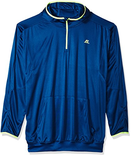 Big And Tall Athletic Wear - Russell Athletic Men's Big and Tall 1/4 Zip Poly Hood Jersey with Lc r, Turquoise, 2X