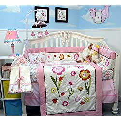 SoHo Once Upon a Garden ( Pink and White) Baby Crib Nursery Bedding Set 14 pcs