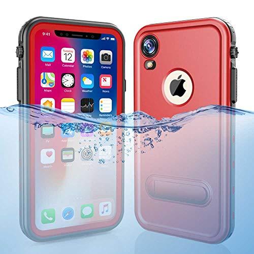 iPhone XR Waterproof Case, Dooge Shockproof Dirtproof Snowproof Rain Proof Heavy Duty Full Protection Rugged IP68 Certified Waterproof Case with Kickstand Screen Protector for Apple iPhone XR 6.1