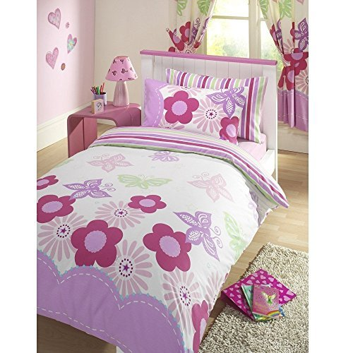 Girls Sunny Days Floral Butterflies Reversible Pink & White Junior Cot Bed Duvet Cover Bed Set by Kids Club (Butterfly Cot)