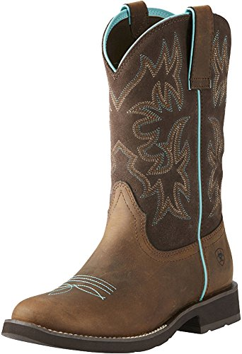 Ariat Women's Delilah Round Toe Work Boot, Distressed Brown, 9 B US by Ariat