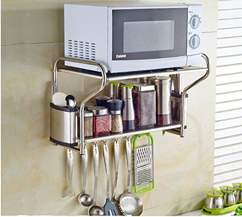 (2 Layer Stainless Steel Microwave Oven Wall Mount Shelf With Removable)