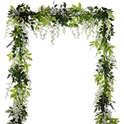 DearHouse 4Pcs 6.6Ft/Piece Artificial Flowers Silk Wisteria Garland Artificial Wisteria Vine Rattan Silk Hanging Flower for Home Garden Outdoor Ceremony Wedding Arch Floral Decor (White)