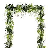 DearHouse 4Pcs 6.6Ft/piece Artificial Flowers Silk Wisteria Garland Artificial Wisteria Vine Rattan Silk Hanging Flower For Home Garden Outdoor Ceremony Wedding Arch Floral Decor (White) Reviews