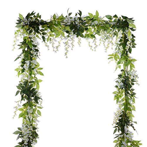 (DearHouse 4Pcs 6.6Ft/Piece Artificial Flowers Silk Wisteria Garland Artificial Wisteria Vine Rattan Silk Hanging Flower for Home Garden Outdoor Ceremony Wedding Arch Floral Decor (White))