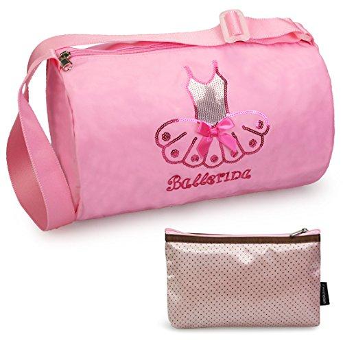 kilofly Ballerina Ballet Tutu Dance Bag + Handy Pouch ()