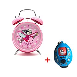 Cute Children's Alarm Clock ,Yatow 4 Twin Bell Wake Up Alarm Clock Nightlight Silent With Free Kids Toys (Pink)