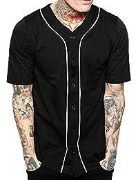 Mens Baseball Button Down Jersey Hipster Hip Hop T Shirts 1UPA01