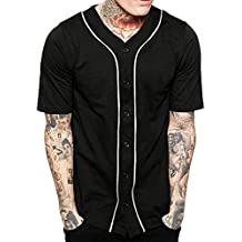 Hat and Beyond Mens Baseball Button Down Jersey Hipster Hip Hop T Shirts 1UPA01