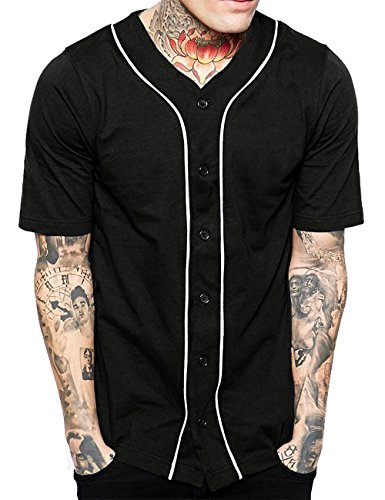 Hat and Beyond Mens Baseball Button Down Jersey (X-Large, 1up01_Black/White) ()