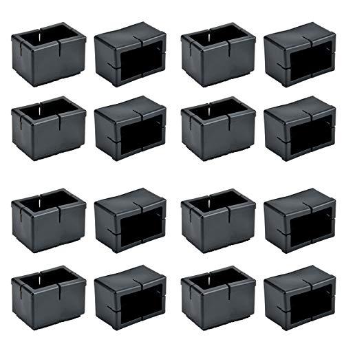 Chair Leg Caps, WarmHut 16pcs Black Silicone Table Furniture Leg Feet Tips Covers Wood Floor Protectors, Felt Pads, Prevent Scratches, (Rectangle)(Black)