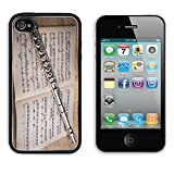 Liili Premium Apple iPhone 4 iPhone 4S Aluminum Backplate Bumper Snap Case Silver flute on an ancient music score background Photo 18695491