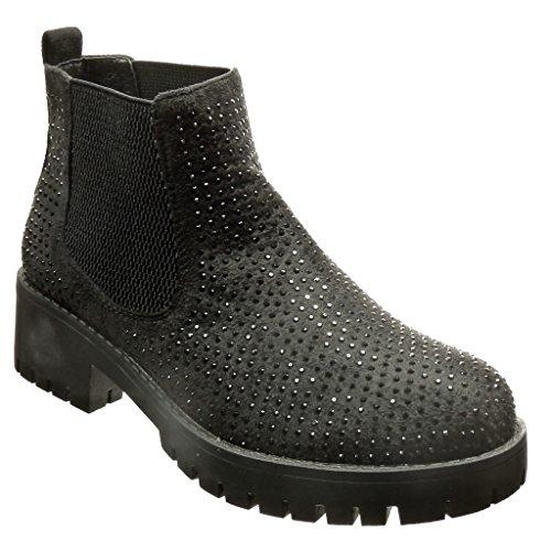 Angkorly Damen Schuhe Stiefeletten - Chelsea Boots - Plateauschuhe - Strass Blockabsatz 4 cm cm Schwarz