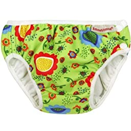 Imse Vimse Swim Diaper (9-13 pounds - Newborn, Green Flower)