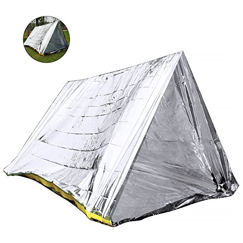 RUNACC Emergency Shelter Survival Shack Emergency Tent for Hiking, Camping and Cold Temperature Environments, Silver