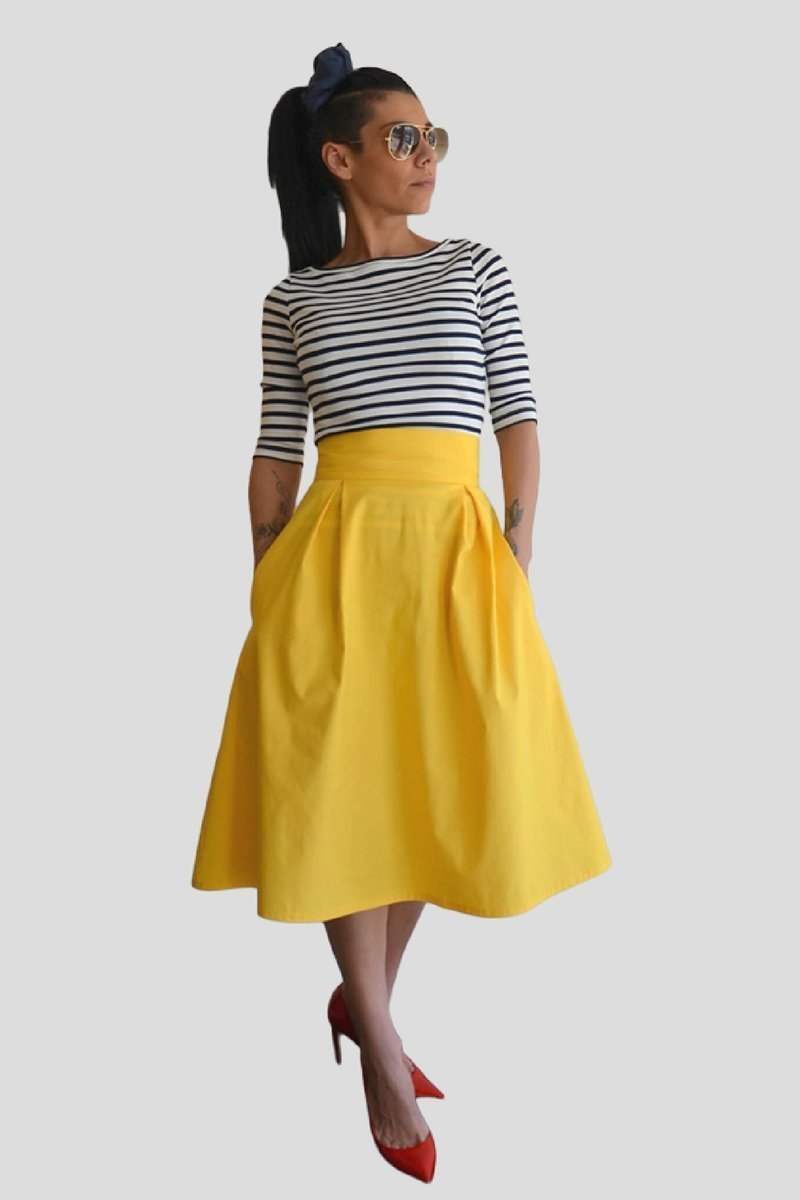 620b35d8ee Amazon.com: LOCKERROOM A-Line Plus Size Yellow High Waist Wedding Midi Full  Skirt with Pockets: Handmade