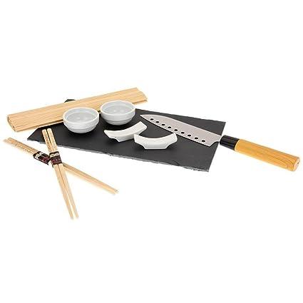 Bakaji Set Sushi Cibo Giapponese con Vassoio in Ardesia Bacchette ...