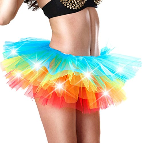 Lealac Women's Fashion Cotton Summer LED Light Up Neon Tulle Skirt Ballet Tutu Skirt Party Dance Mini Skirt L39-TS016 Rainbow XXXL -