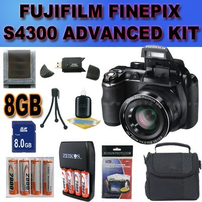 Fujifilm FinePix S4300 14 MP Digital Camera with Fujinon 26x Super Wide Angle Optical Zoom Lens and 3-Inch LCD Accessory Saver 8GB NiMH Battery/Rapid Charger Bundle BLACK