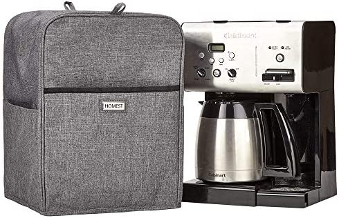 HOMEST Coffee Maker Dust Cover with Accessory Pockets Compatible with Cuisinart CHW-12, CHW-14, Grey Patent Pending