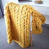 """EASTSURE Bulky Knit Throw Chunky Sofa Blanket Hand-Made Pet Bed Chair Mat Rug,Yellow,47""""x71"""""""