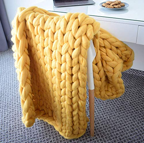 Blanket Throw Wool Blend (EASTSURE Chunky Knit Throw Bulky Merino Sofa Blanket Hand-Made Pet Bed Chair Mat Rug,Yellow,47
