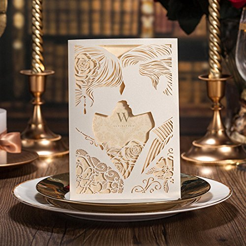 Beige Laser Cut Wedding Invitations Cards Kits Bride and Groom Kiss Style with Envelopes Seals (30PCS)