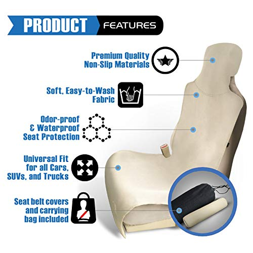 Ryzen Premium Waterproof Car Seat Cover Protector, Neoprene Universal Fit, Protect Your Seat from Pets, Sand, Stains, Sweat, Dirt, Dogs, Odors Tan Beige