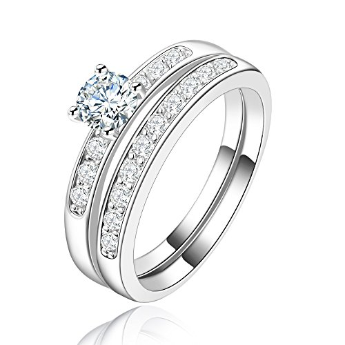 ANDREANGEL Women Wedding Ring Set White Gold / Top Quality Cubic Zirconia 6 mm Lab Diamond 0,75 Carat AAA+ Princess Cut / Marriage Bridal Promise Engagement Size 8