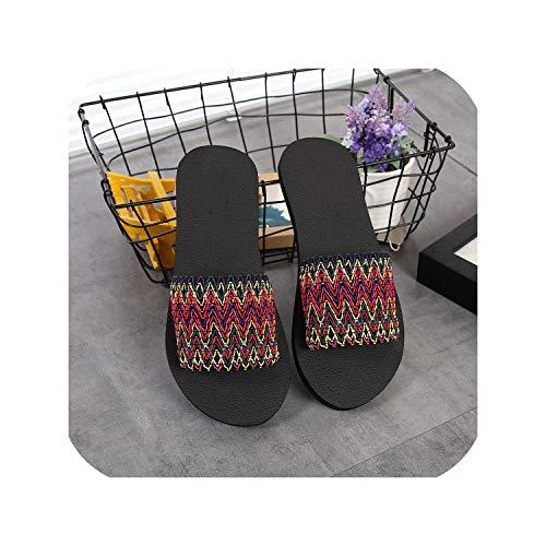 Flip Flops Slipper Shoes National Style Sandals Indoor Outdoor Flip-Flops Beach Shoes,Red,6,C