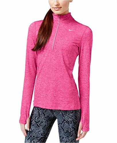 Nike Womens Dry Fit Element Half Zip Running Top (Small, Hyper Pink Reflective/Silver heather)
