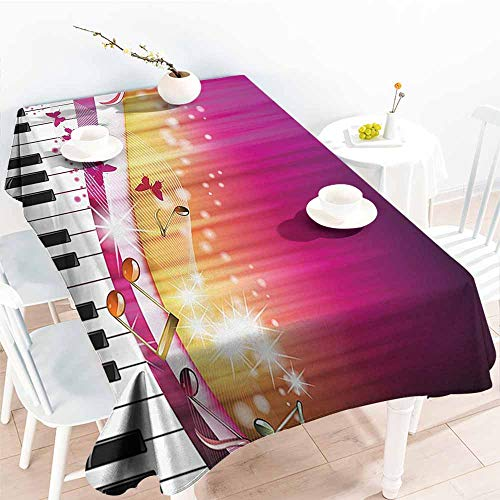 HRoomDecor Table Cloth for Dinner Parties,Abstract,Piano Keys with Butterflies Stars and Musical Notes Romantic Artwork,Hot Pink Yellow White 60