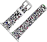For Iwatch Bands 38mm,38mm Leather Strap Wrist Band Replacement W Silver Metal Clasp For Apple Watch 38mm Series 1 Series 2 Series 3 - Multi Colorful Leopard Lines Design